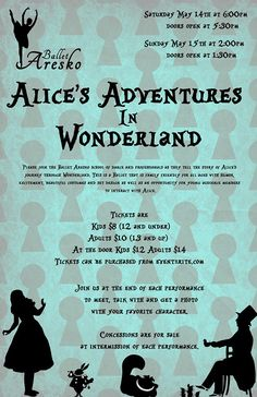 Ballet Aresko presents Alice's Adventures in Wonderland May 14th & 15th! This family-friendly ballet is exciting for all ages, featuring beautiful costumes and set design, and a chance to meet your favorite characters! Purchase tickets at Eventbrite.com.
