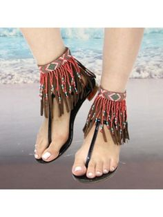 Leather Fringe Cuff Anklets Boho Beaded Suede Turquoise, Red, or Cream - new season bijouterie Boho Jewelry, Fashion Jewelry, Shoes Boots Ankle, Beaded Anklets, Leather Fringe, Suede Leather, Brown Leather, Bare Foot Sandals, Ankle Bracelets