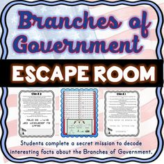 The Branches of Government Escape Room will take students on a secret mission around the classroom! This escape room has students decode interesting facts about the three Branches of Government. This is the perfect activity to introduce the Constitution. 3rd Grade Social Studies, Social Studies Curriculum, Social Studies Notebook, Social Studies Classroom, Social Studies Activities, History Classroom, Teaching Social Studies, Teaching History, Government Lessons