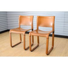 Matteo Grassi Sistina Strap Brown Leather Dining Chairs - Pair of Dining Chairs