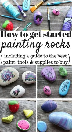 Decorative Rocks Ideas : Description How to get started painting rocks (including a guide to the best paint, brushes, dotting tools, supplies and more!Want to start painting rocks but not sure how? Here is a list of my favorite paints and supplies - plus Rock Painting Supplies, Rock Painting Ideas Easy, Rock Painting Designs, Paint Designs, Rock Painting Patterns, Paint Ideas, Pebble Painting, Pebble Art, Stone Painting