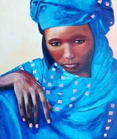 Mireya Maggiolo Retrato mujer Africana óleo