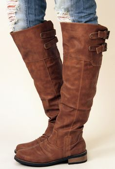Inexpensive knee-high brown boots.