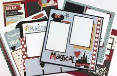 12x12 Disney Scrapbook Page Kit or Premade Disney Like 6 Pages Pre-Cut with Instructions This is a pre-cut do-it-yourself scrapbook kit that includes all of the materials to make SIX 12x12 scrapbook pages. (Also available pre made) The theme is Disney-like, with fabulous colors of black, red, yellow and a touch of blue. I also have a coordinating mini album AND autograph book listed in the shop, so be sure to check those out. Save many wonderful vacation memories on these pages! There is…