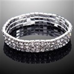 Exquisite 3-Row Crystals Rhinestones Stretchy Bracelet Brace Lace Bangle for Women Ladies Girls