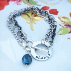 For Always Blue Coin Pearl Personalized Custom Hand Stamped Bracelet by ThreeBoysWish #ForAlways #Always