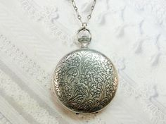 Silver Locket Necklace  Silver Pocket Watch Style by birdzNbeez