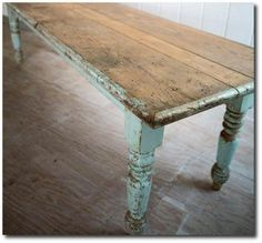 Rustic - FARMHOUSE – INTERIOR – vintage farmhouse table from Rachel Ashwell shabby chic couture.
