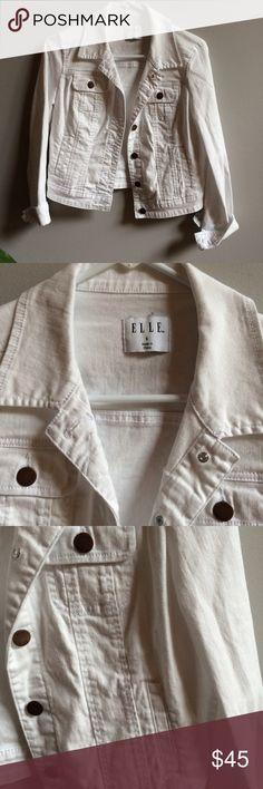 "White Denim Jacket Like new! Women's size small. Armpit to armpit 17"" across. Shoulder to hem 19."" Elle Jackets & Coats"