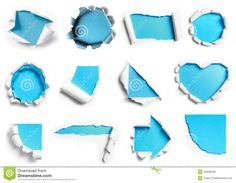 Collection Of White Torn Paper With Blue Background In Many Shap Royalty Free Stock Image - Image: 34948226