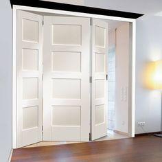 Freefold White Shaker 4 Panel Style Folding 3 Door Set, Height 2090mm, Width 1890mm. #whitedoors #whiteinternaldoors #whitefoldingdoors