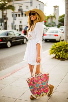 Resort ready sundress + platform wedges + printed beach tote