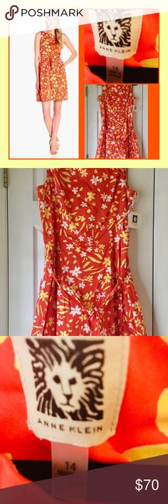 19ae2fef12ab4 🔥Anne Klein Dress New with tags Gorgeous vibrant orange color with yellow  and white floral
