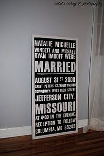 love the subway roll signs - cute art idea for making wedding invites last