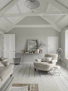 Gray walls, white wood
