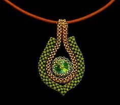 Cubic right angle weave pendant inspired by another on this board: www.pinterest.com...