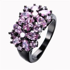 Pink Black Gold Filled CZ Ring Unique Vintage Party Wedding Rings For Women Fashion Jewelry Bague Femme