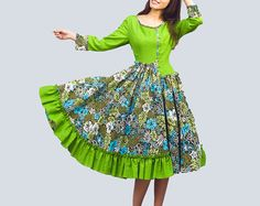 Valley snow   Green  linen dress 0015 by xiaolizi on Etsy, $62.40