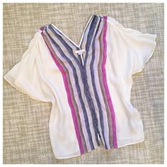 Friday Sale⚡️Adam Lippes Watercolor Silk Top For gourde silk top in watercolor purple and blue stripes with silk covered buttons and butterfly sleeves. Excellent used condition with no flaws. This top is gorgeous! Adam Tops Blouses