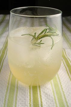 Rosemary Vodka Lemonade Fizz. I made a version of this last night, but used store-bought lemonade, instead of adding sugar to lemon juice. Yummmm.