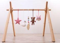 Woodland baby play gym. Swan Bear Owl Star Feather. Wooden