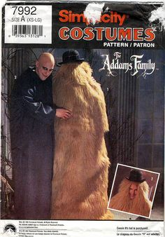 Simplicity 7992: Addams Family Uncle Fester and Cousin It costumes