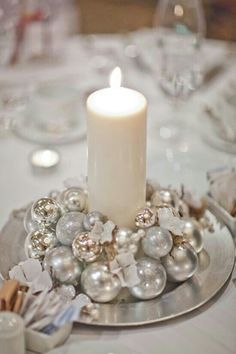 home made christmas table centre using baubles - Google Search