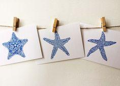 Postcard Size Prints - Royal Blue Starfish Set