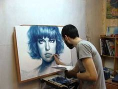 The process of creating a portrait from a photo. Technique is dry brush, paper, oil. Milla Jovavich by Arthur Alimguzin.