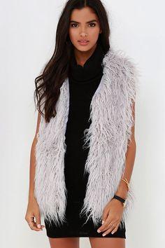 JOA Streamside Grey Faux Fur Vest at Lulus.com!