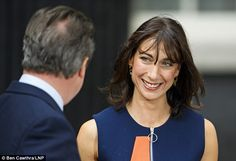 Pictured, Samantha Cameron looks fondly at her ex Prime Minister husband David, as they le. Samantha Cameron, David Cameron, Family Hug, Final Goodbye, West London, Three Kids, Business Women, Daughter, Husband