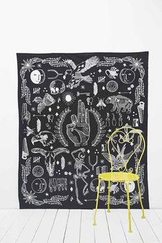 Tattooed Icons Tapestry Throw in Black