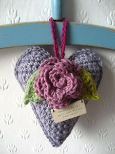 Rose Heart Hanger tutorial by Attic24, Heart and rose crochet pattern, along with little saying to add on tag. Free crochet pattern.