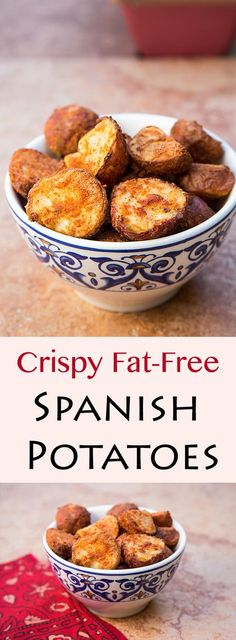 Vegan and oil-free, these fat-free Spanish Potatoes are pre-cooked and then air fried, making them crunchy and spicy on the outside, creamy on the inside.
