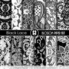 Black Lace Digital Paper, Black Scrapbooking Digital Paper Pack, Wedding Lace Textures Black and White - INSTANT DOWNLOAD  - 1920