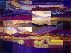 """Jo Diggs, Remembered Vistas, 48.5"""" x 64.5"""", cotton + a few synthetics, hand quilted"""