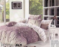 Lenjerie de pat bumbac Pucioasa mov si gri cu copaci Comforters, Blanket, Home, Creature Comforts, Blankets, Ad Home, Homes, Carpet, House