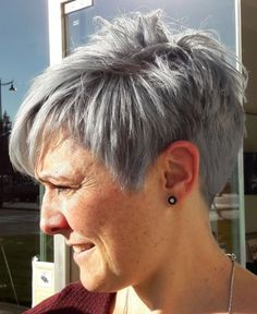 Icy Short Pixie Cut - 60 Cute Short Pixie Haircuts – Femininity and Practicality - The Trending Hairstyle Short Hairstyles For Thick Hair, Short Grey Hair, Short Pixie Haircuts, Pixie Hairstyles, Short Hairstyles For Women, Easy Hairstyles, Curly Hair Styles, Medium Hairstyles, Layered Haircuts