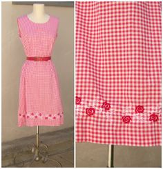Red gingham day dress // vintage 60s summer dress // red white floral trim // medium on Etsy, $36.00