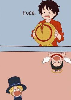 Não curto esse tipo de arte kkkkkk Mas essa me fez rir .. Pow Luffy até o Ace teve que descer do céu kkkkkk