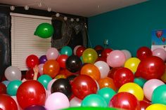 "20 Creative Ways To Ask Someone Out {Prom, Dance, Date} - Tip Junkie 12.  Hide in a Sea of Balloons ~ Do you see the chalkboard wall in the background with the words ""Prom?""  Her future date is hiding inside the balloons to surprise her when she come in."