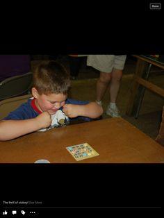 Owen is soooo close to winning candy bar bingo!