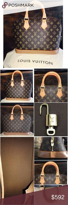 """Authentic 💯Louis Vuitton 🌺Alma Monogram 🌺 Authentic custom painted Louis Vuitton """"Alma"""" handbag in monogram canvas, w dust bag, lock +key included, super gorgeous bag vachetta still shines -clean inside/outside - Check photos-it is a new bag I had custom painted (bottom vachetta sides were custom painted in one tone  darker shade of brown) by a Louis Vuitton former artisan in France to match a pair of shoes I used to wear with it -sealed mate sealant to prevent stains. still looks like…"""