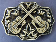 TWO GUITARS COUNTRY COOL MUSIC WESTERN LINE DANCING BELT BUCKLE BELTS BUCKLES