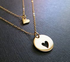 Mother daughter necklace two gold heart necklaces by thejewelrybar
