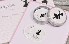 personalized sticker label I personalisierte Schulaufkleber I Schulanfang Starter-Set Ballerina I Casa di Falcone