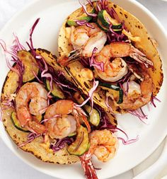 Shrimp and Veggie Tacos With Chipotle Chile Abodo Mayo, Zucchini and Red Cabbage #SELFmagazine