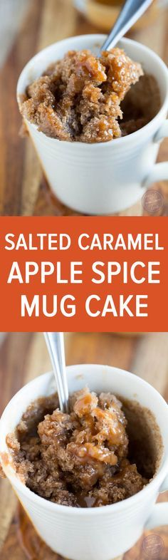 Celebrate apple season with this salted caramel apple spice mug cake! Less than 5 minutes gets you a single serving cake to satisfy that sweet tooth! (apple mug recipes) Apple Recipes, Sweet Recipes, Cake Recipes, Dessert Recipes, Microwave Mug Recipes, Mug Cake Microwave, Dessert In A Mug, Dessert Oreo, Single Serve Desserts