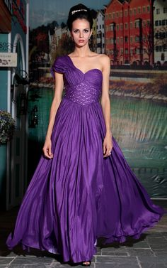2013 shoulder deep purple elegant evening dress