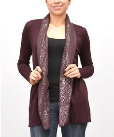 Look at this Wine Sequin Open Cardigan - Women & Plus on #zulily today!